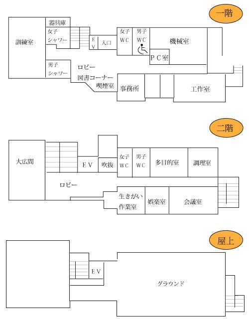 1階から3階までの見取り図